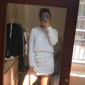 White mock neck chunky knit sweater h&m